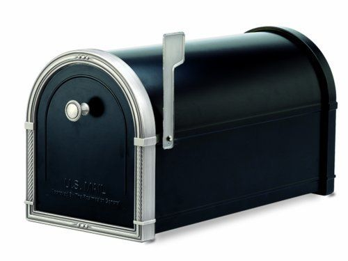 Architectural Mailboxes Coronado Mailbox Black with Antique Nickel by Architectural Mailboxes®. $197.66. The Coronado sets the standard of beauty for the discerning homeowner. The body of this USPS approved post mount curbside mailbox is constructed of heavy 16 and 14 gauge galvanized steel that is fully powder coated prior to assembly for durability and long life. The black body is accented by over six pounds of solid die cast brass pieces in antique nickel finish that boast e...