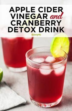Apple Cider Vinegar and Cranberry Detox Drink #kidneycleanse