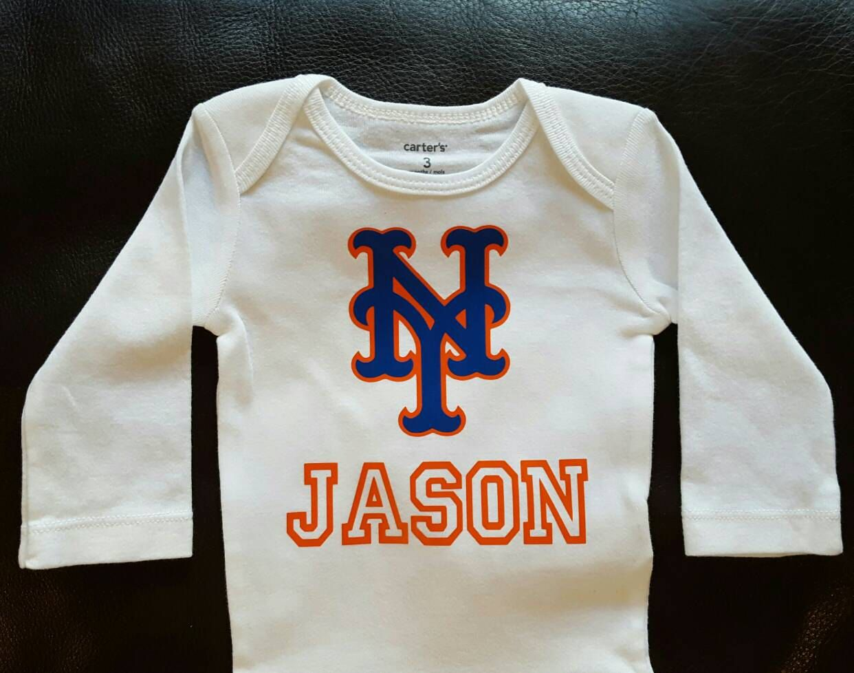 Personalized Mets bodysuit; personalized Mets gifts; personalized baseball outfit; personalized baseball gifts-Mets infants by FromAtoZbyTami on Etsy