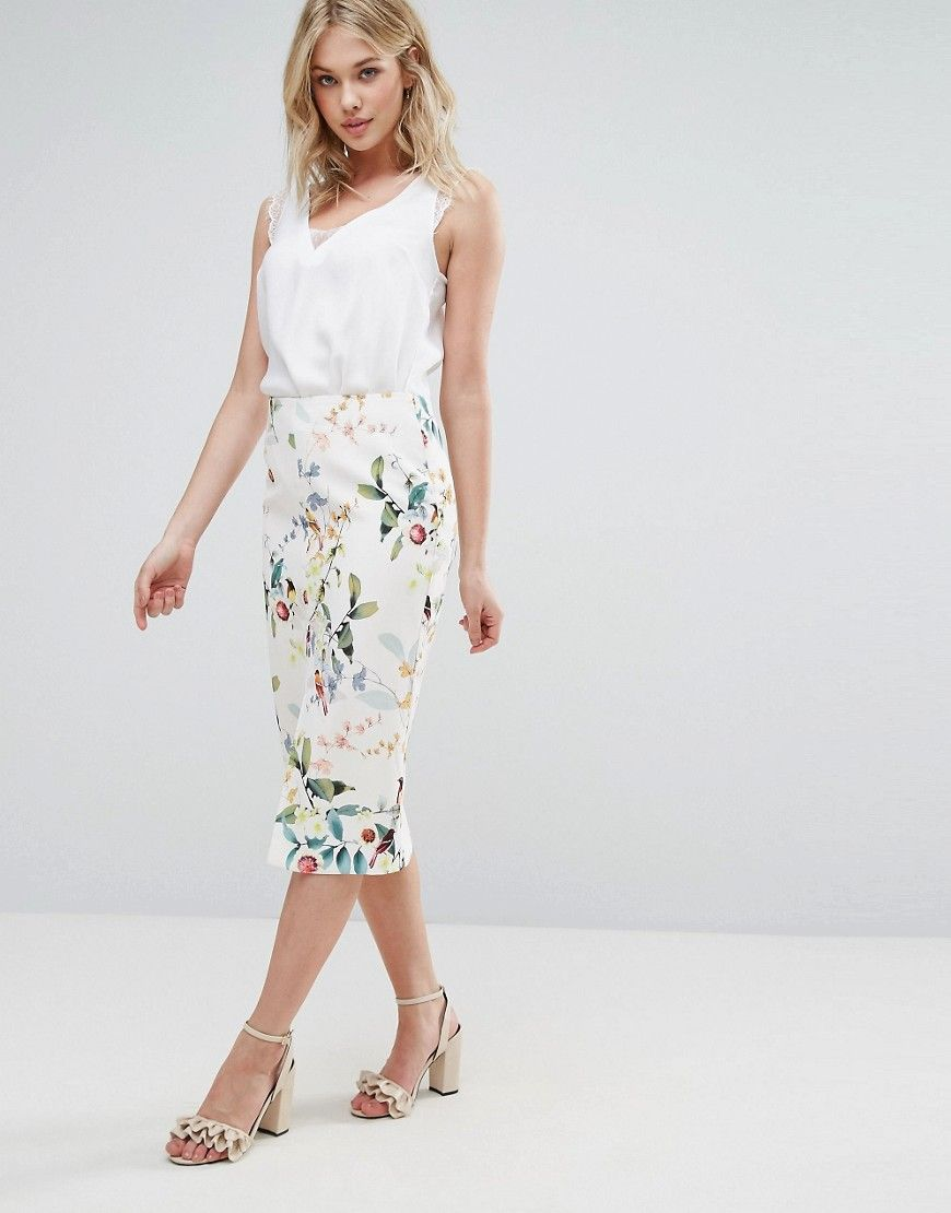 6a9dbc4933b1be Oasis Bird Print Midi Pencil Skirt - Multi   Products   Fashion ...
