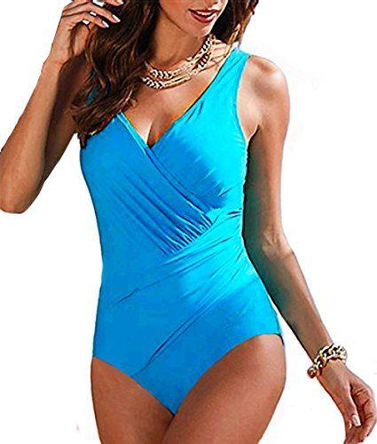 ab1ede31700 Upopby Women's Tummy Control Monokini One Piece Swimsuit Plus Size Swimwear