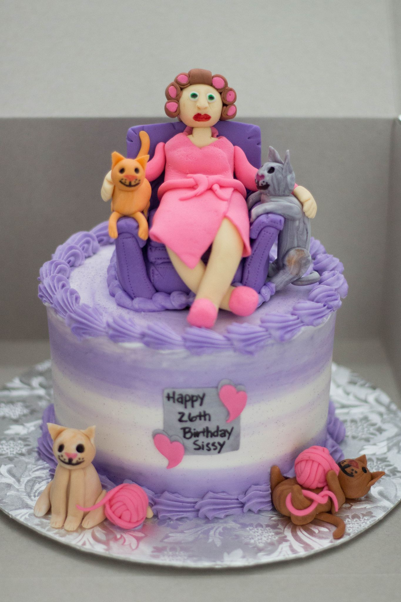Fabulous Crazy Cat Lady Cake With Images Crazy Cat Lady Cake Cakes For Funny Birthday Cards Online Elaedamsfinfo