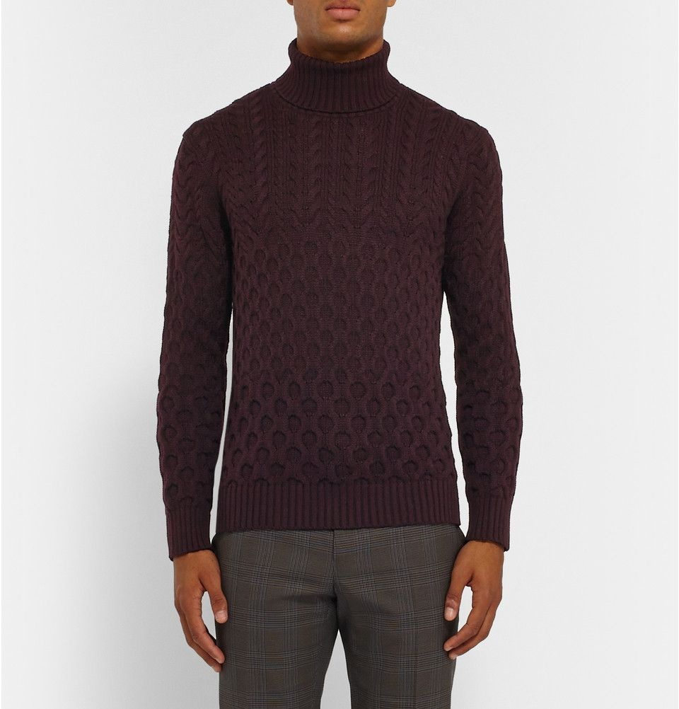 Etro - Slim-Fit Cable-Knit Wool Rollneck Sweater | MR PORTER