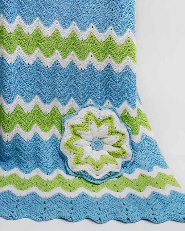 Ripple Baby Afghan and Pillow Crochet Pattern | Decken, Babydecken ...