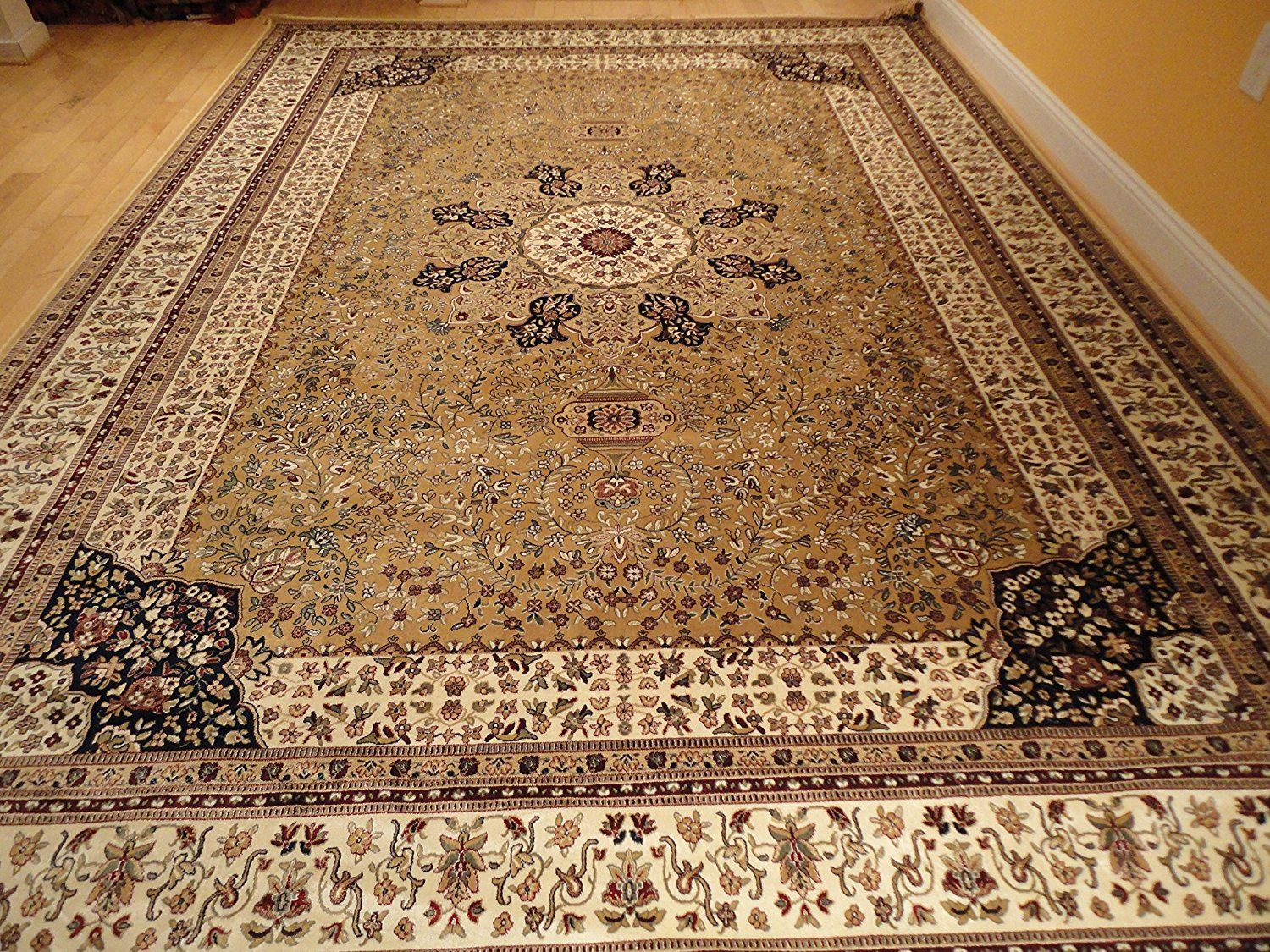 Luxury Silk Large Rugs Beige Area Traditional Persian Kashan 8x12 Living Room 8x11 Dining