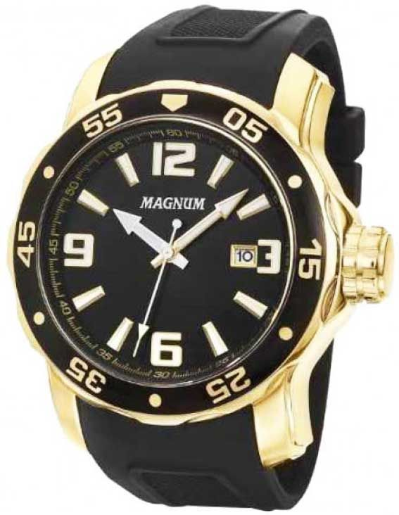 545a766eac0  Relógio de pulso masculino da Magnum MA31908U  RelógioMasculino dourado  com pulseira de borracha