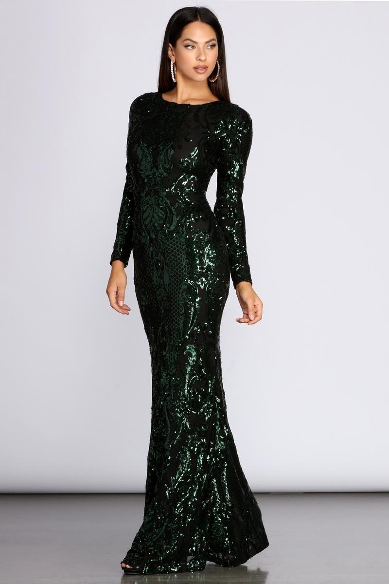 Dalia Sequin Long Dress In 2021 Long Dress Long Sleeve Evening Dresses Sequin Long Dress [ 1200 x 800 Pixel ]