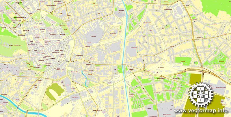 Brno Czech Republic printable vector street City Plan map full
