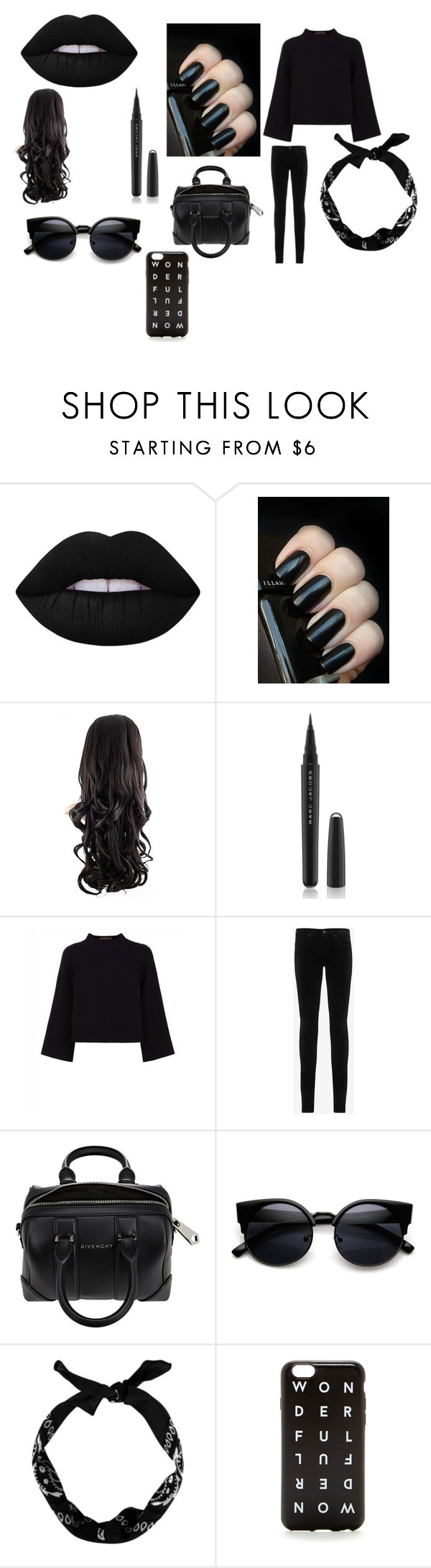 """""""haha. goth"""" by hope2021 ❤ liked on Polyvore featuring Lime Crime, Marc Jacobs, Jaeger, AG Adriano Goldschmied, Givenchy and J.Crew"""