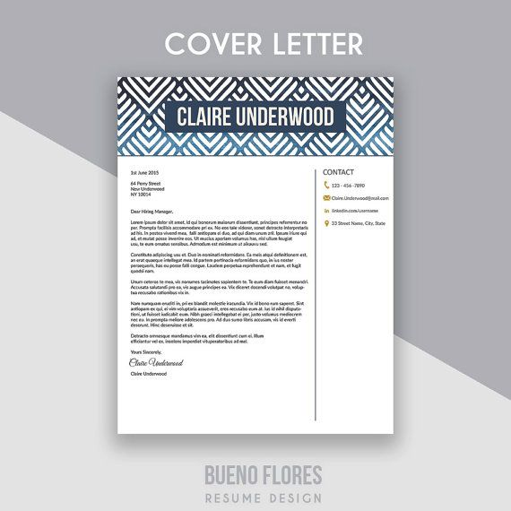 Resume Template Claire Underwood  Blue  Cover Letter   Icons