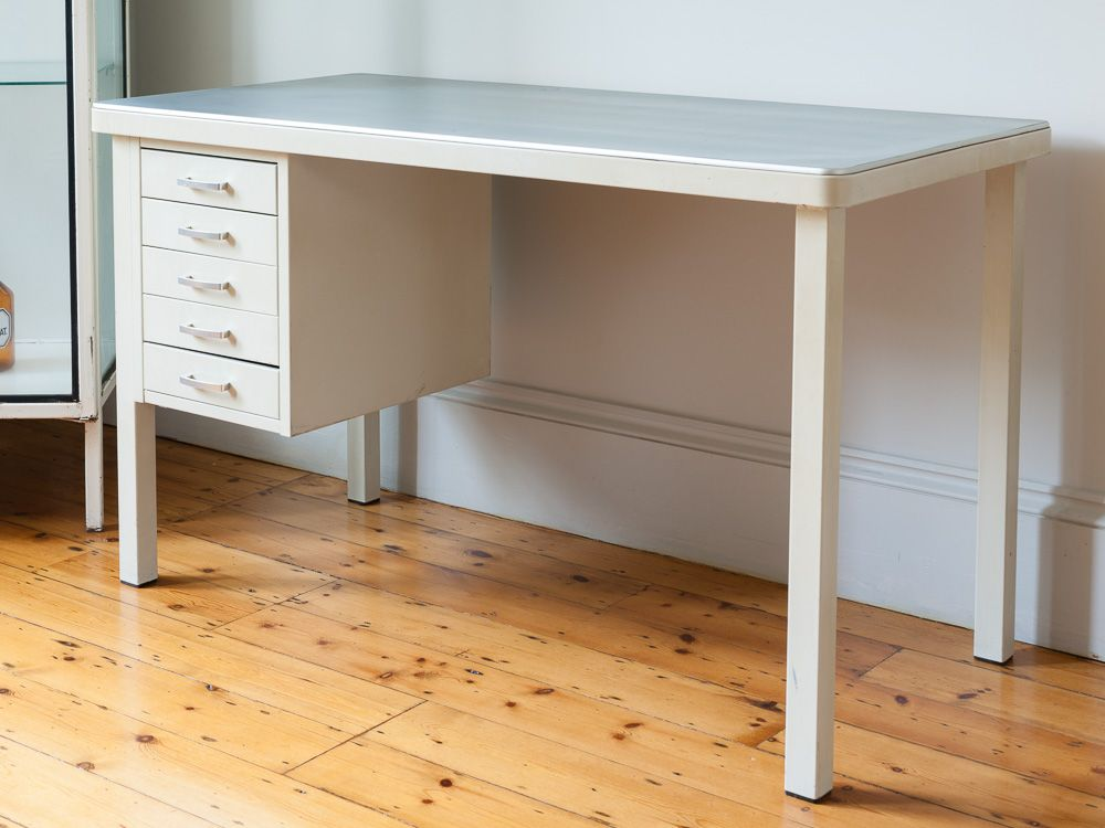 1940s Vintage Steel White Tanker Desk With A Rubber Grip Table Top Narrow One Set Of 5 Drawers Down Side Perfect For Those Who
