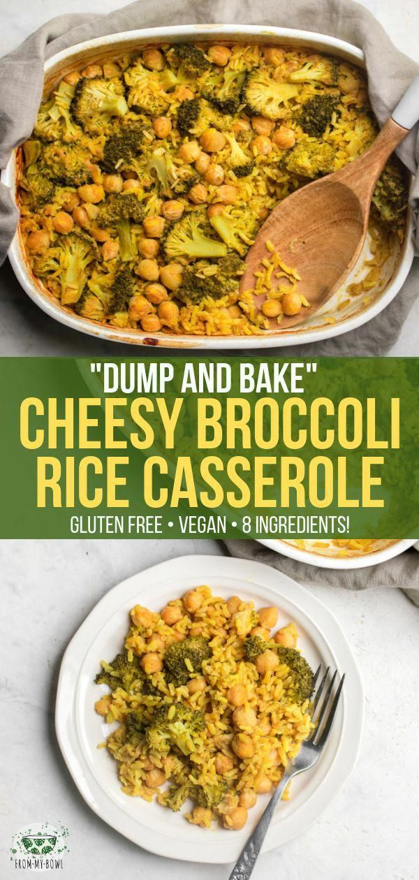 This Cheesy Broccoli Rice Casserole is Gluten-Free, Dairy-Free, and made with only 8 healthy ingredients! Simply add everything to a pan, bake, and enjoy. via