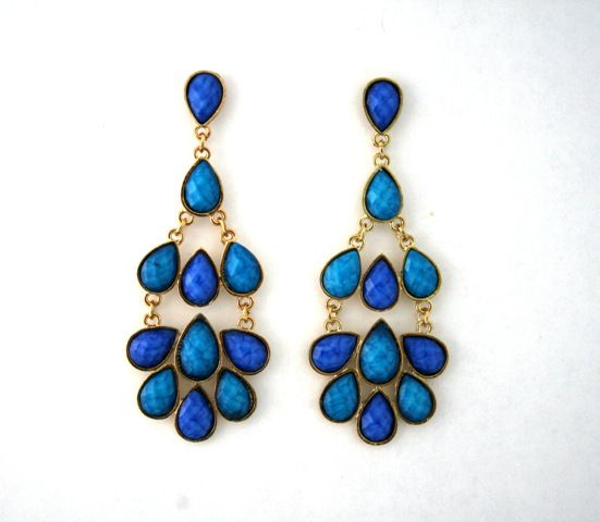 Blue and Gold Chandelier Costume Earrings