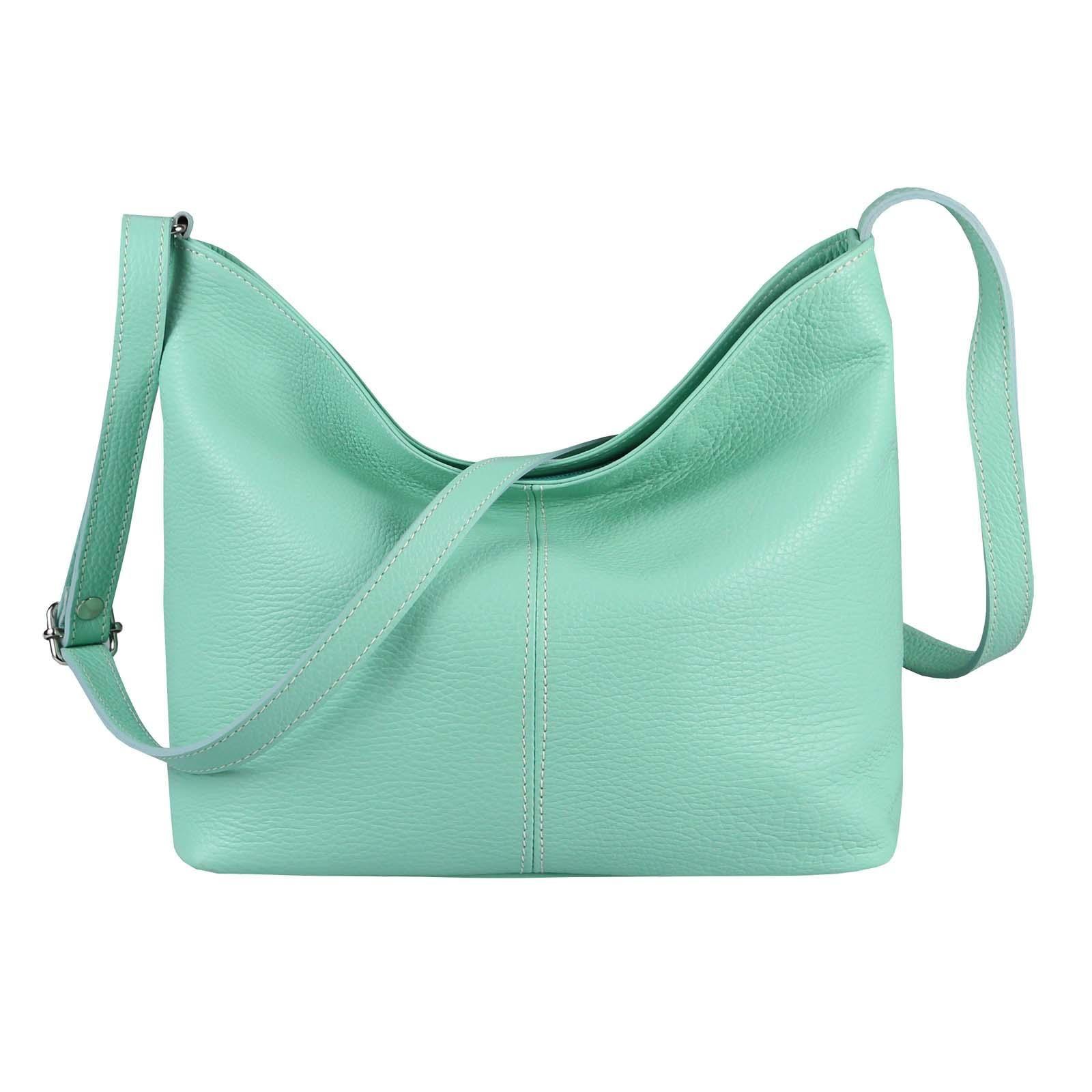 f638c04d24 MADE in ITALY Damen LEDER TASCHE Handtasche Umhängetasche Shopper  Damentasche Schultertasche Cross-Over Ledertasche Mint