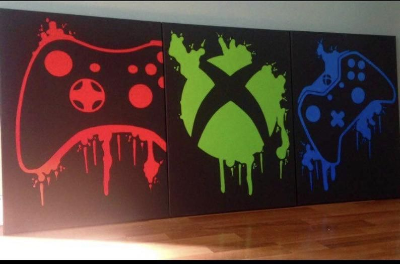 Three Piece Video Game Controller Paintings Set Video Game Art Hand Painted Custom Colors Custom Wall Art Video Game Decor Teenage Wall Art In 2021 Video Game Decor Boys Game Room Custom Wall Art
