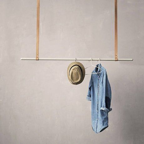 ferm living kleiderst nder aus metall leder grau braun. Black Bedroom Furniture Sets. Home Design Ideas
