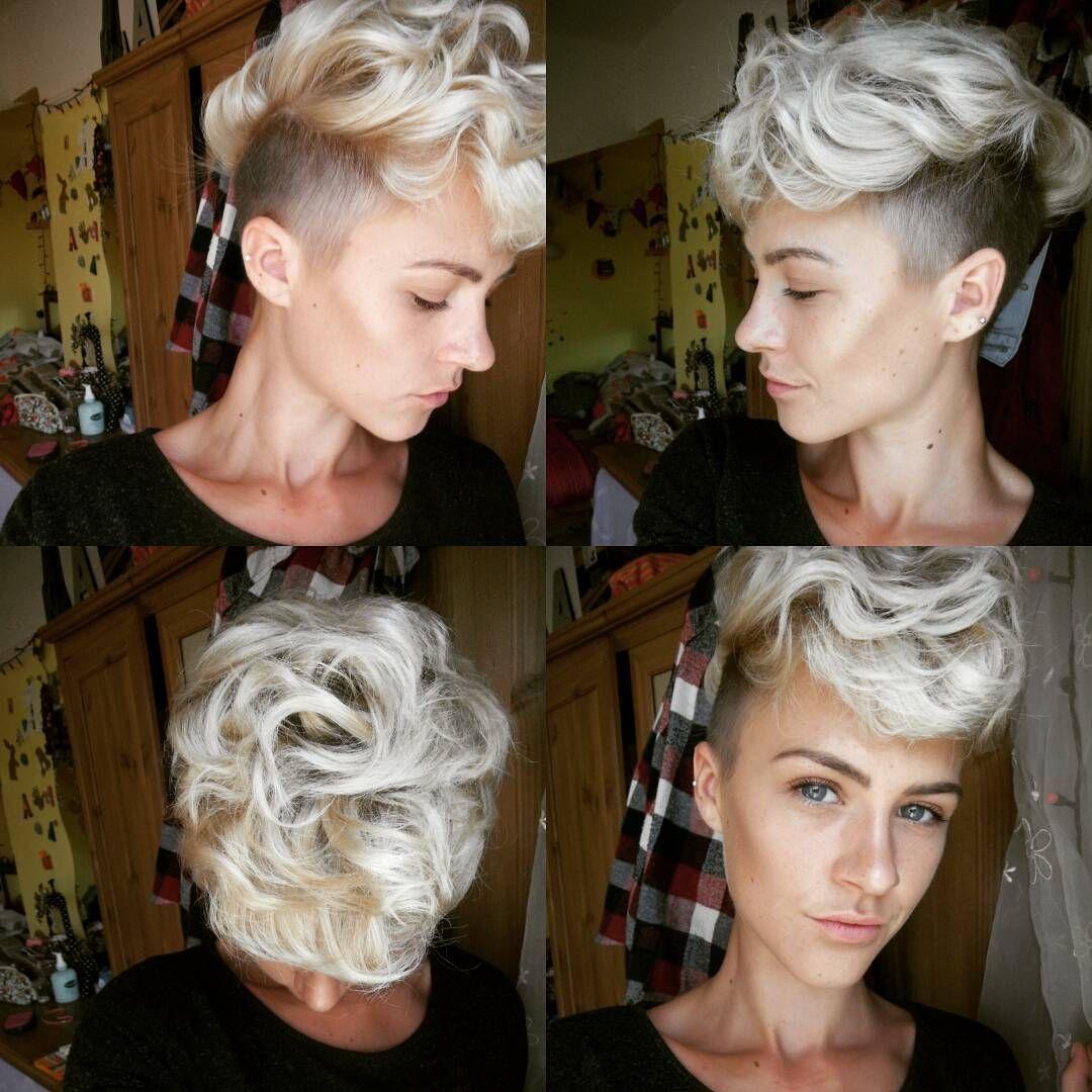 Curly top hair #undercut #buzzcut #curlypixie #blonde #soblonde #shorthairdontcare #hairsquare #sideshave