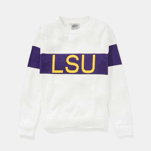 Women's LSU Retro Stripe Sweater - Hillflint | Luxury Sweaters | Collegiate Apparel $89