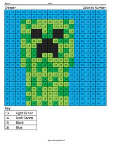 Free Minecraft Math Coloring Pages Squared