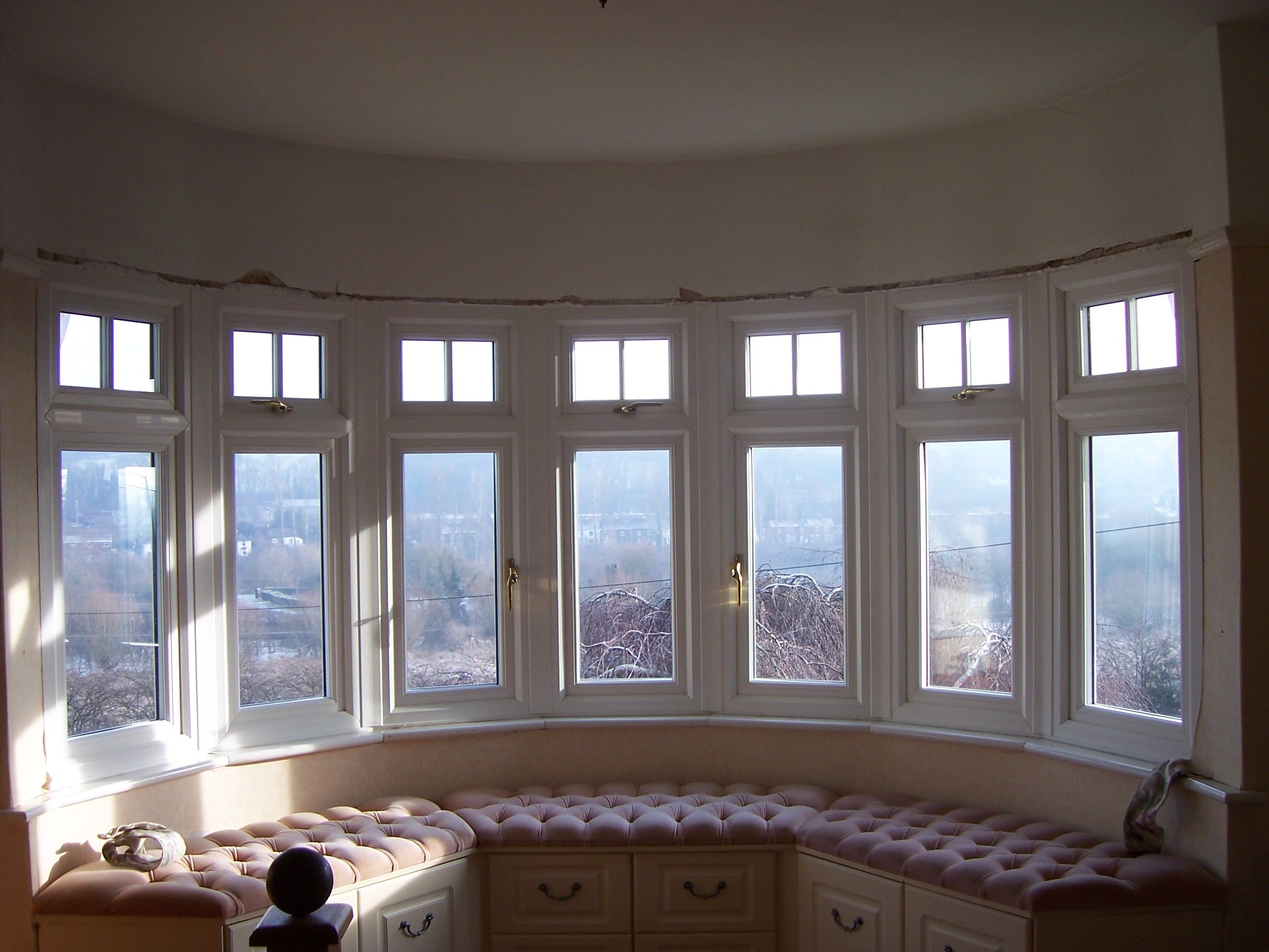 7 Segment PVCu Bay Window with Authentic Georgian Bars at the Top & a Bay Window Seat