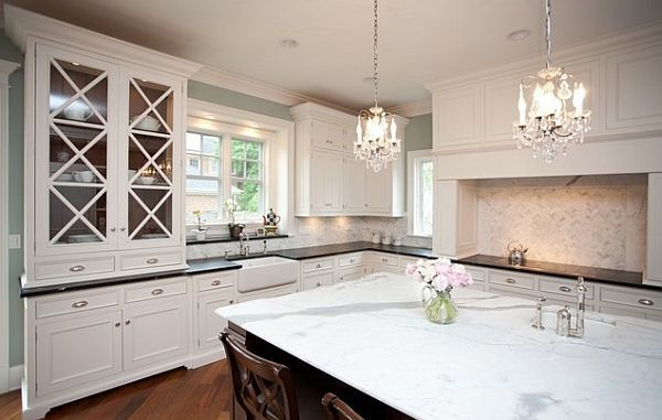 Two Small Chandeliers Over Kitchen Islandtoo Big And It Looks Impressive Chandelier Kitchen Decorating Design