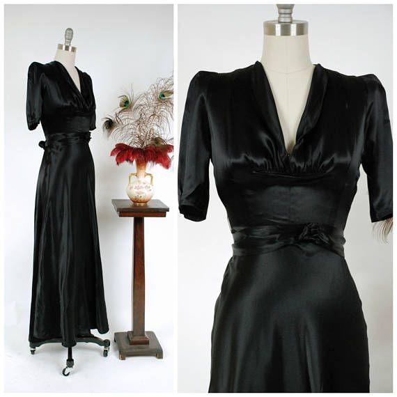 Vintage 1930s Dress  F.O.G.A. Glamorously Glossy Jet Black