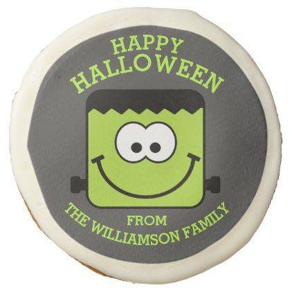 Cute Happy Halloween Blockhead Frankenstein Sugar Cookie - halloween