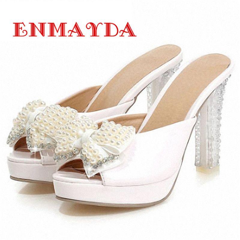 Women's Beaded Peep Toe Sweet Bridal Platform Heeled Sandals