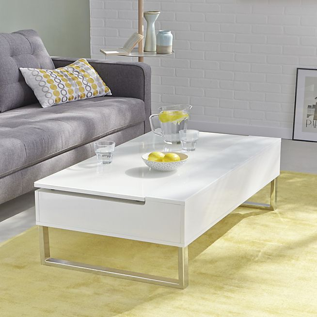novy table basse blanche avec tablette relevable table. Black Bedroom Furniture Sets. Home Design Ideas