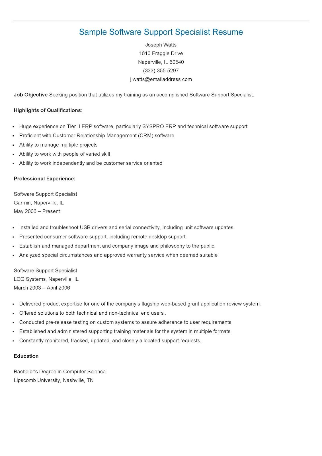 Sample Software Support Specialist Resume | resame | Pinterest ...