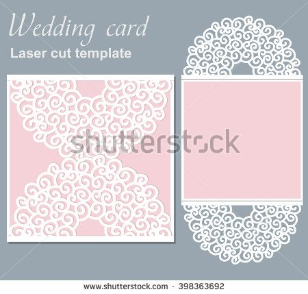 Vector Die Laser Cut Wedding Card Template. Wedding Invitation