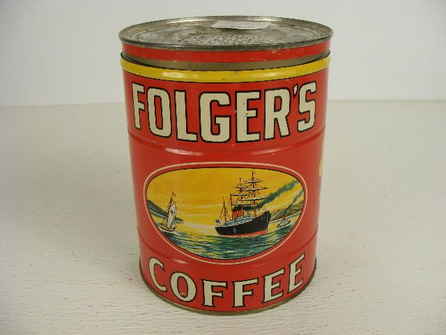 Vintage Coffee Cans Old Folgers Can Tin With Ship Graphics Is A Two Pound