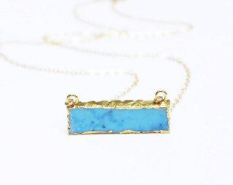 Turquoise Necklace, Bar Necklace, Layering Necklace, Gemstone Bar Necklace, Thin Gold Neckalce, Simple Necklace, Gemstone Necklace