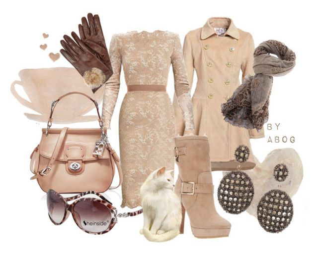 """""""Let's Do Lunch!"""" by karen-of-abog ❤ liked on Polyvore featuring French Country, Etro, Coach, Faliero Sarti, Ileana Makri, Jimmy Choo, lace dresses, leather gloves, double breasted coats and sunglasses"""