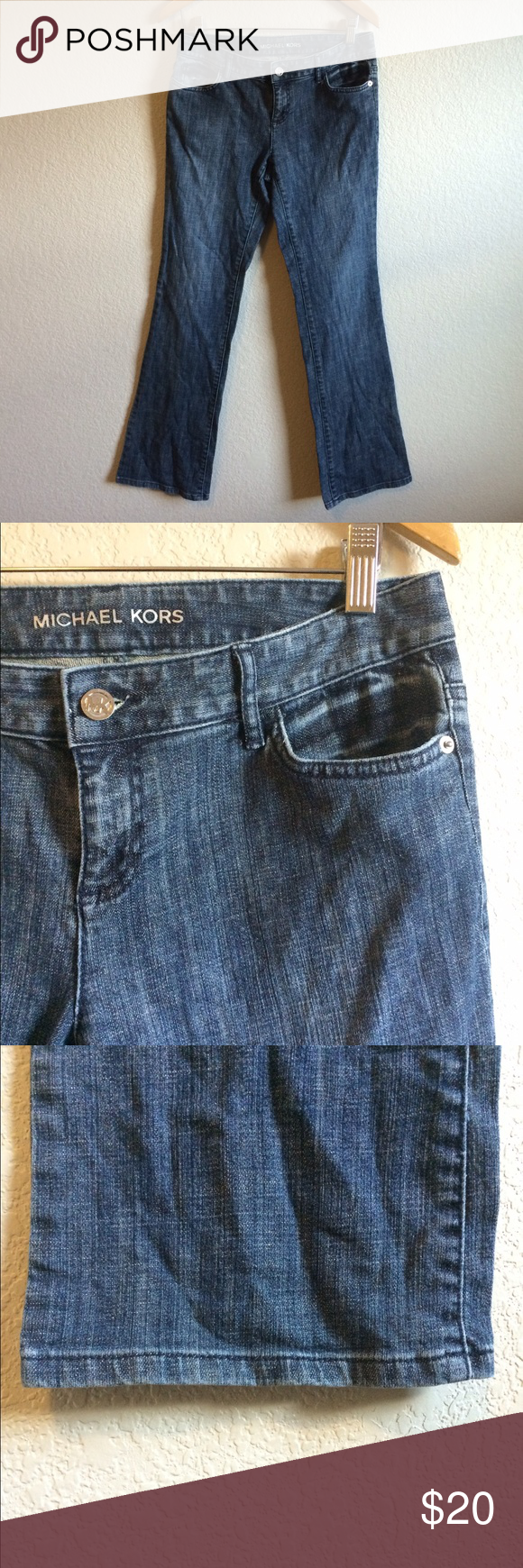 SALE Michael Kors Jeans These jeans with brown trim on the back pockets are in great condition. The slightest bit of wear to the bottom hems but no fraying.. Coloring as shown. Michael Kors Jeans Boot Cut