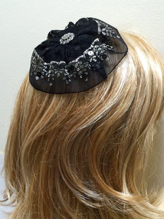 2ba2448923f Silver and Black Lace Kippah Women s Lace Yarmulke by VintageBloomsByEllen