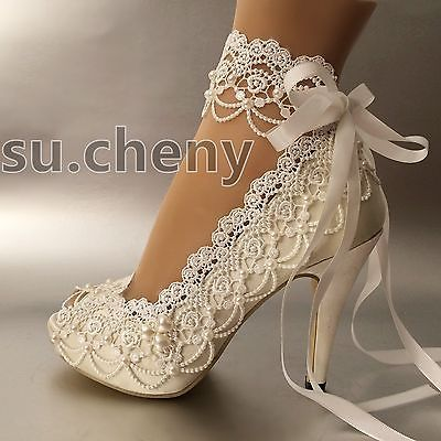 3-034-4-heel-white-ivory-satin-lace-ribbon-open-toe-Wedding-shoes-bride -size-5-9-5 fc78233a6b2a