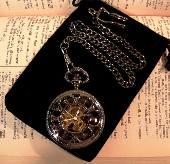 Gunmetal Black Mechanical Pocket Watch with Chain Groomsmen Gift Ships from Canada