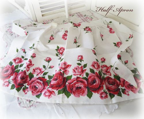 Stunning Never Worn Pique With Roses Half Apron