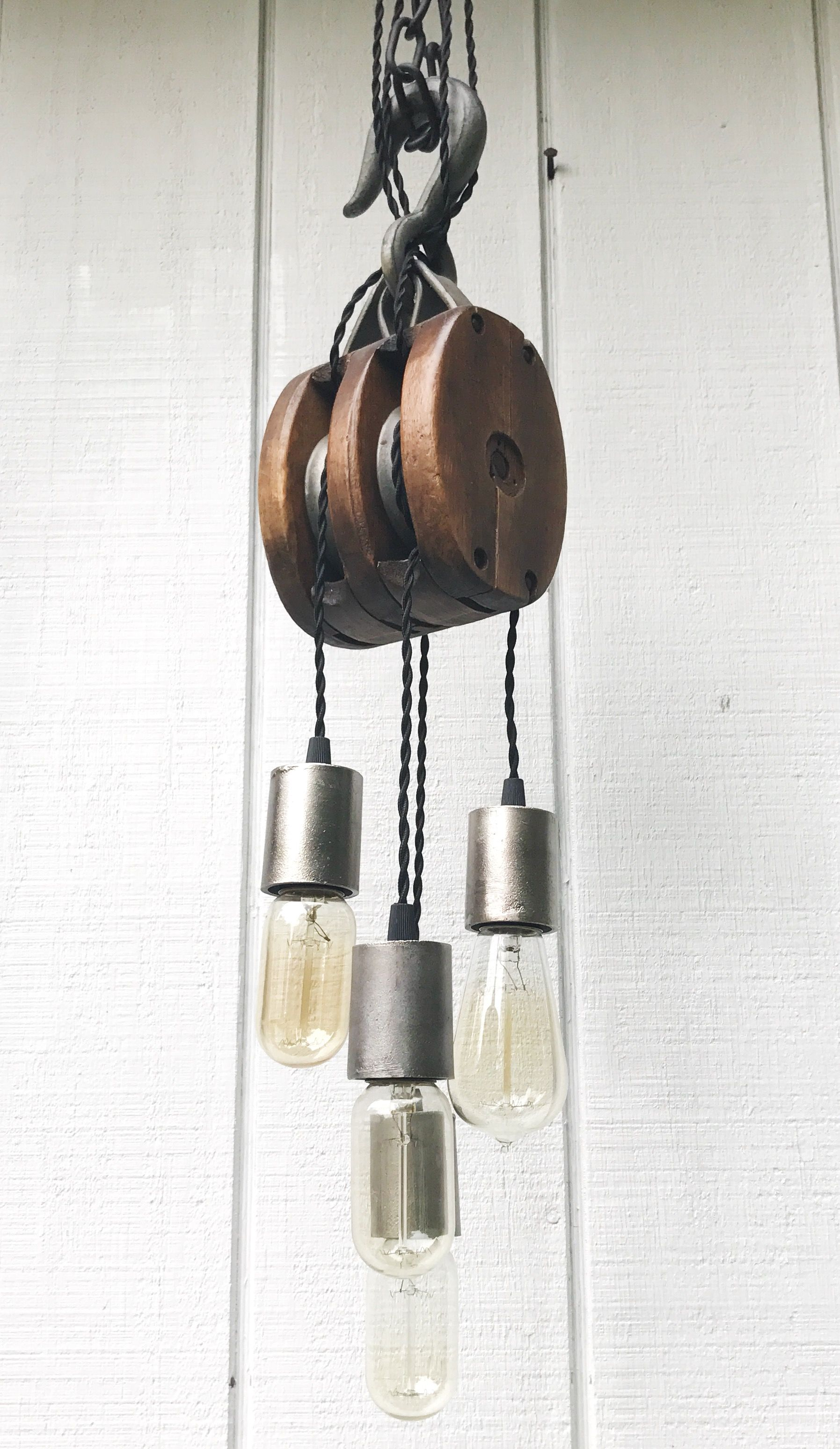 Antique Barn Pulley Fully Restored And Turned Light Fixture Pulley From Old Barn In The Adirondacks Antique Light Fixtures Pulley Light Fixture Pulley Light