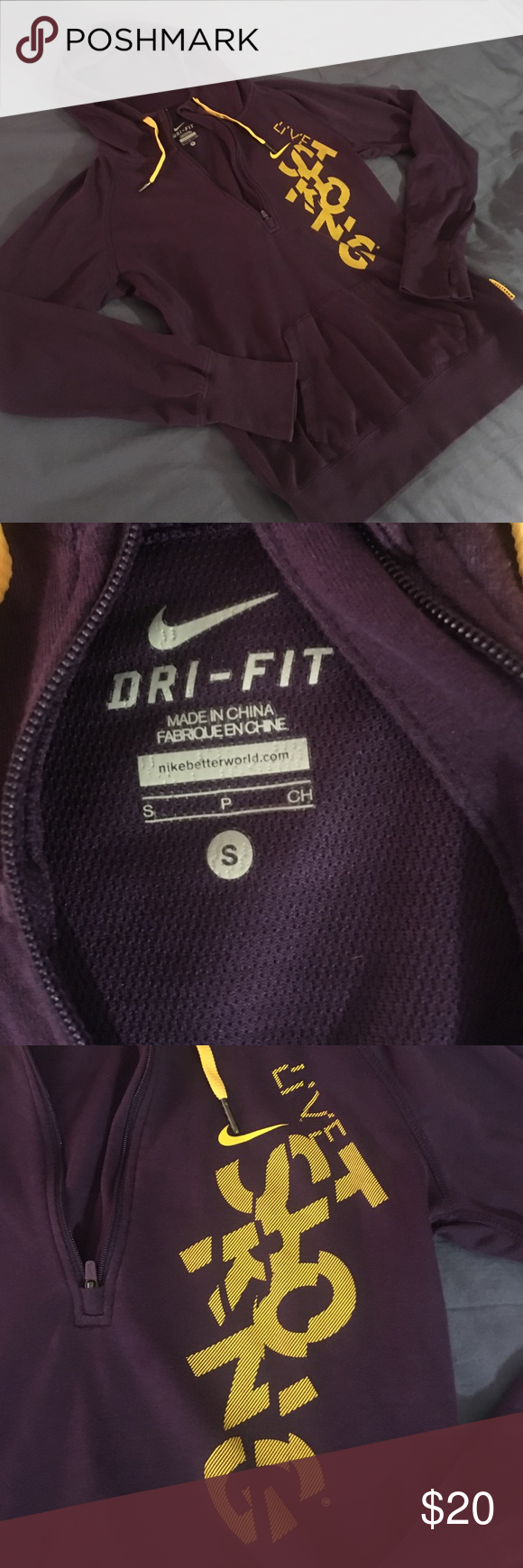 Nike livestrong half zip pullover hoodie Purple with yellow lettering in great used condition Nike Tops Sweatshirts & Hoodies