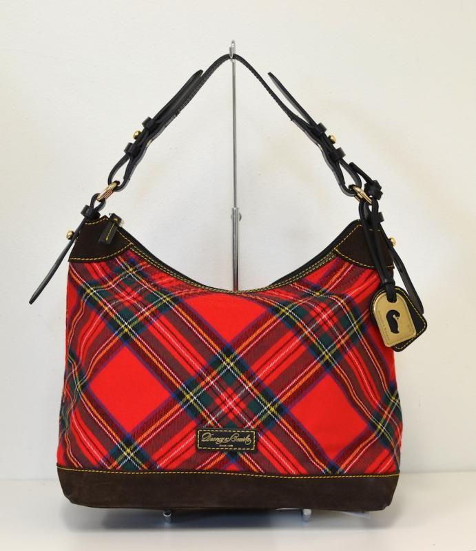 Love This New Dooney And Bourke Erica Red Tartan Plaid Hobo Bag Black Vachetta