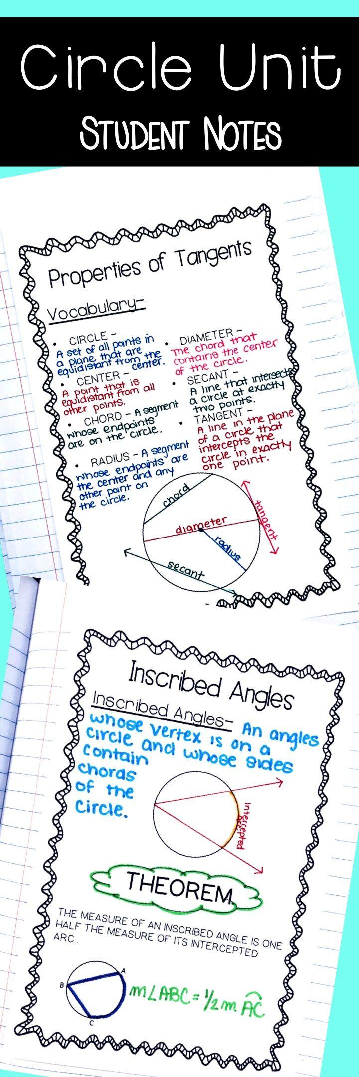 Circles Unit - Homework/ Quizzes/ Unit Test   High School Math Ideas
