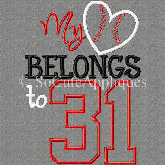 5x7 my heart belongs to 31 5x7 Embroidery by SoCuteAppliques