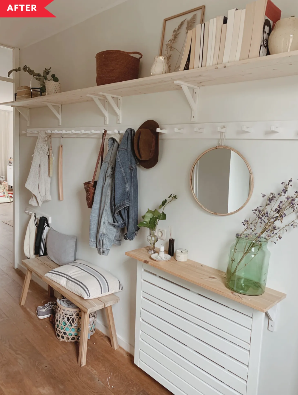 Before and After: A Weekend Project Totally Transforms a Narrow, Cluttered Entryway