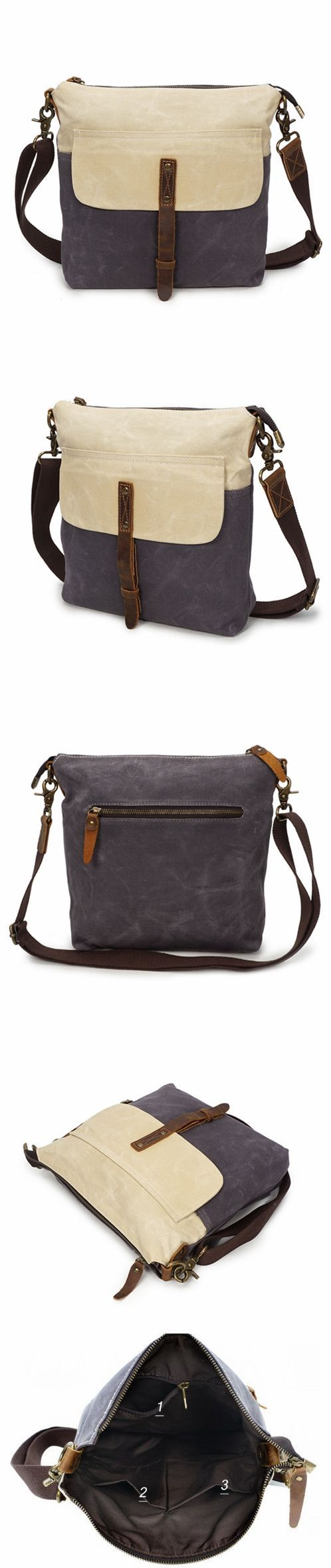 9573f32cdd Waxed Canvas Crazy Horse Leather Messenger Bag Crossbody Shoulder Bag 5186-1