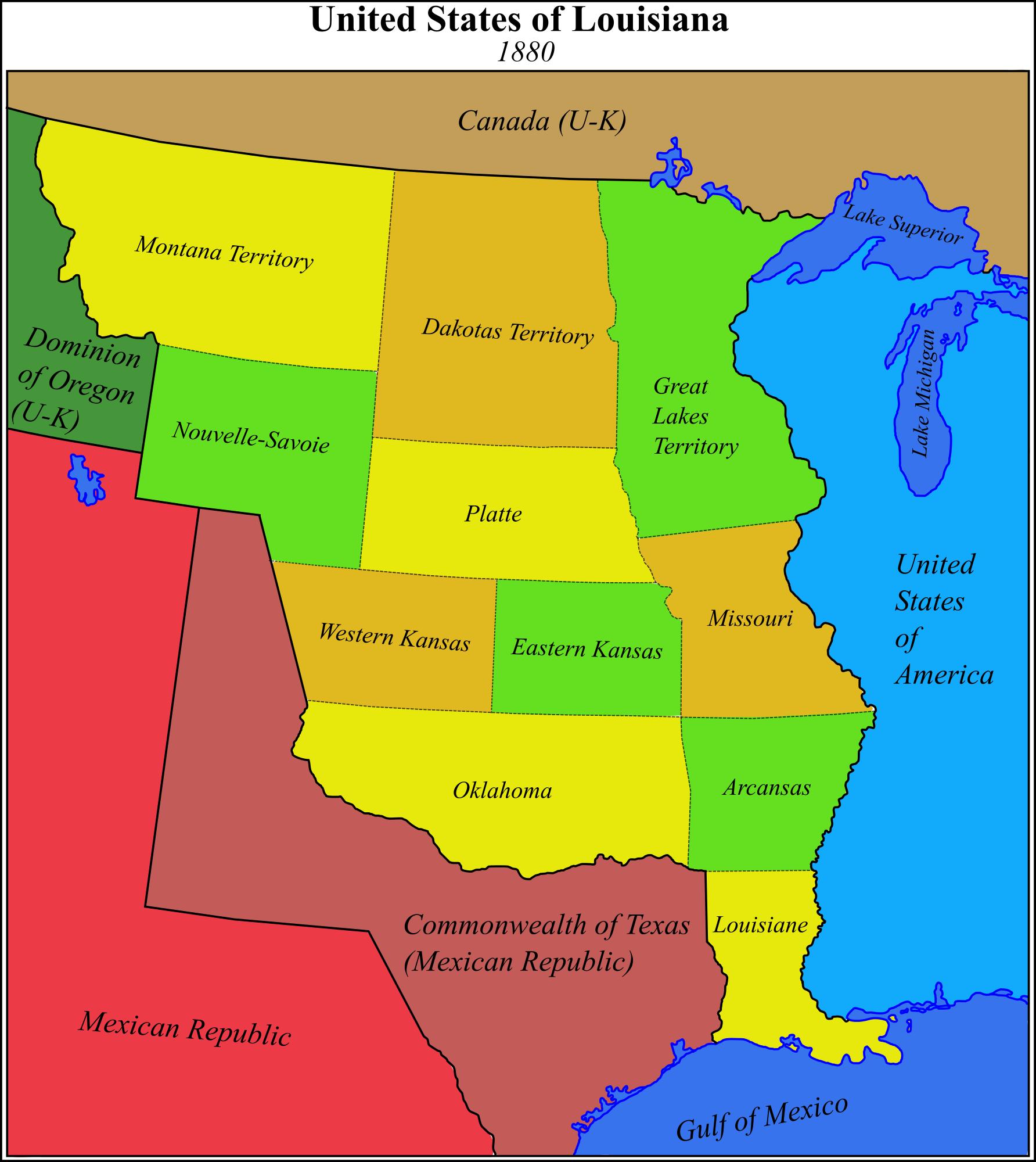 Alternate United States Map.United States Of Louisiana 1880 Imaginary Maps Pinterest