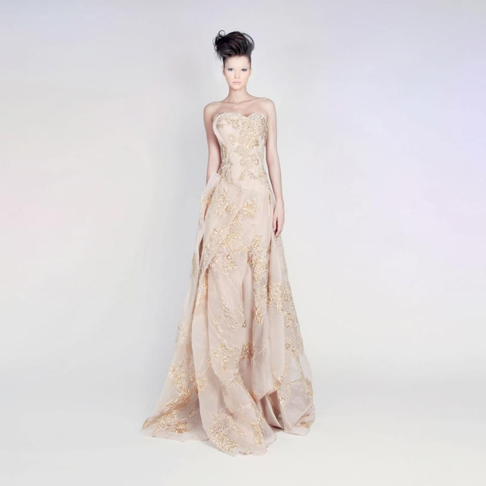 Silk Organza Lurex Blend Draped Gown