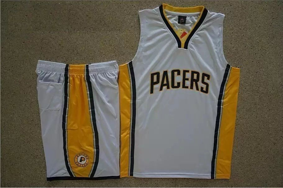 444eff923244 Men s Indiana Pacers White Custom Replica Jersey Kits Adult Basketball  Uiforms