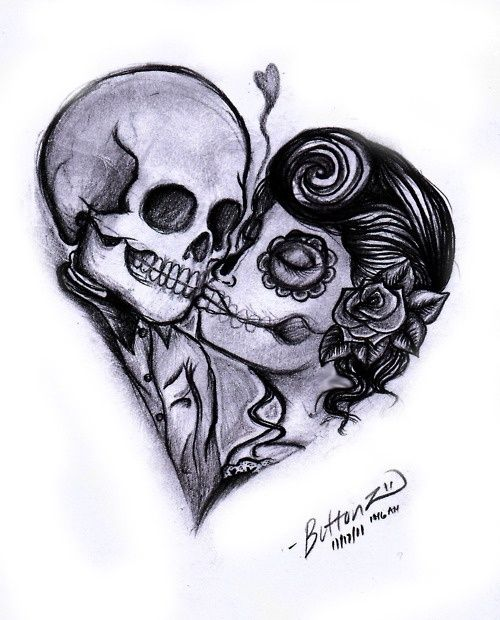 Eternal Love Skull Couple Tattoo Couple Tattoos Tattoos